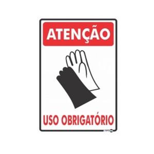 Placa Atenção Luvas Uso Obrigatório Ps85 - Encartale
