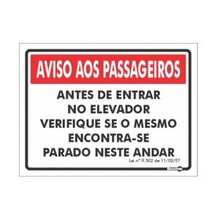 Placa Aviso Aos Passageiros Ps225 - Encartale