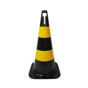 Cone Sinalização 75cm Preto / Amarelo PVC Rígido