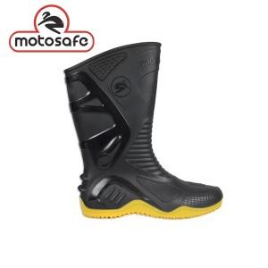 Bota PVC Motosafe Preta com Forro Solado Amarelo - Bracol