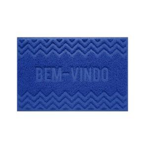 Tapete Capacho Vinil 0.40x 0.60cm Bem-Vindo - Azul - Bella Casa