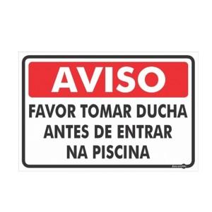 Placa Aviso Ducha Antes da Piscina Ps454 - Encartale