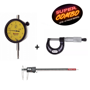 Combo Relógio Comparador 3081-481/5 + Paquímetro Digital 300mm 12 Pol + Micrômetro Externo 0- 25mm - Starrett