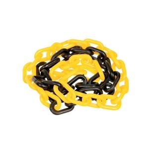 Corrente Plástica 38 x 21mm Preta/Amarela (Vendida por Metro)
